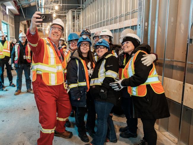 B.C. Premier John Horgan tours the LNG Canada Kitimat site, a project critics say will sabotage provincial emissions targets. Photo by B.C. government