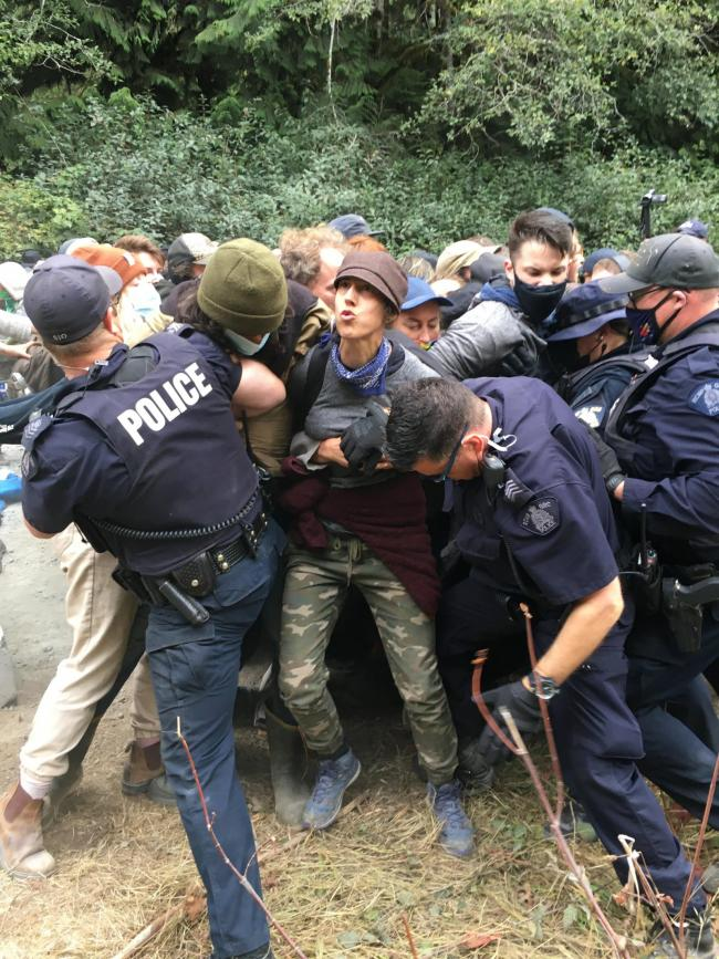 Protestors pushed and shoved violently as they form a civil disobedience cluster at Fairy Creek on August 21, 2021. Photo by Shaena Lambert