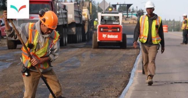 Photo: Crews work on highway resurfacing in B.C., 2019. (B.C. Department of Transportation / Flickr)