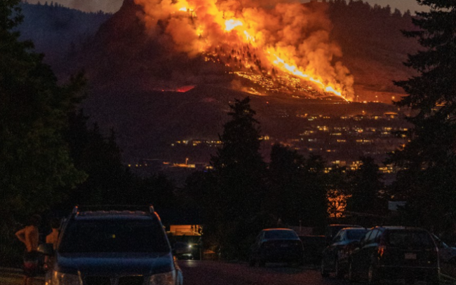 A wildfire rages in Coldstream, B.C., on July 9, 2021. Photo courtesy of @ItsGavP