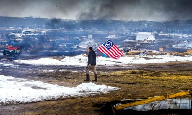 Protests at Standing Rock during the resistance to the Dakota Access pipeline. Photograph: Rex/Shutterstock