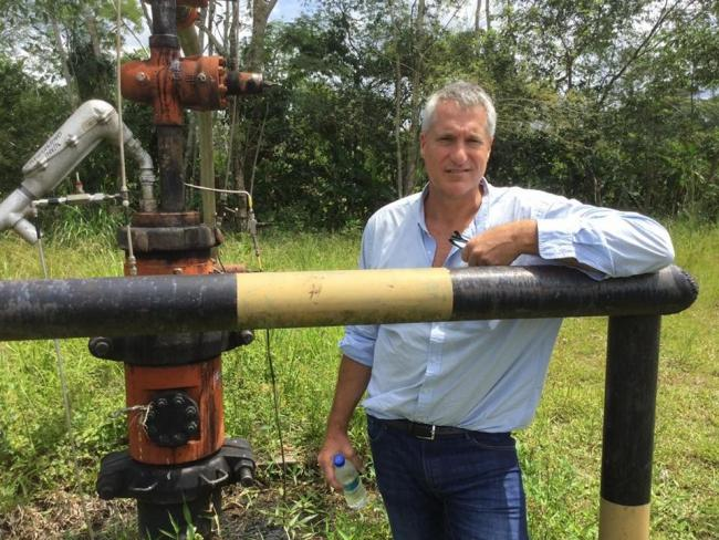 Steven Donziger, attorney for Ecuador's Frente de Defensa de la Amazonía, at one of Chevron's abandoned oil wells in 2017. Donziger won the historic lawsuit against Chevron in 2011. He is now under home detention in New York. Photo by Lisa Gibbons.