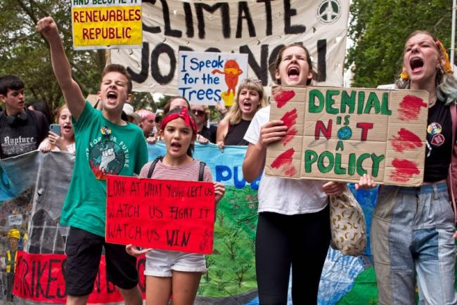 A rally for climate action in Sydney on February 22. Photo: Zebedee Parkes