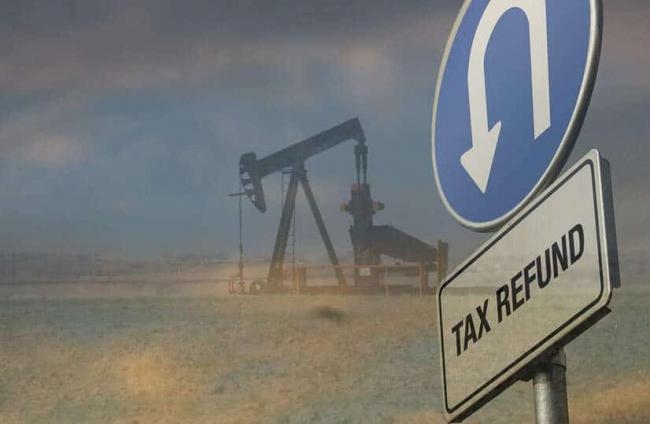 Tax refund graphic - Taxes U-turn Sign. Credit: efile989, CC BY-SA 2.0 and Oil Well Credit: Maarten Heerlein, CC BY 2.0. Adapted by: Justin Mikulka