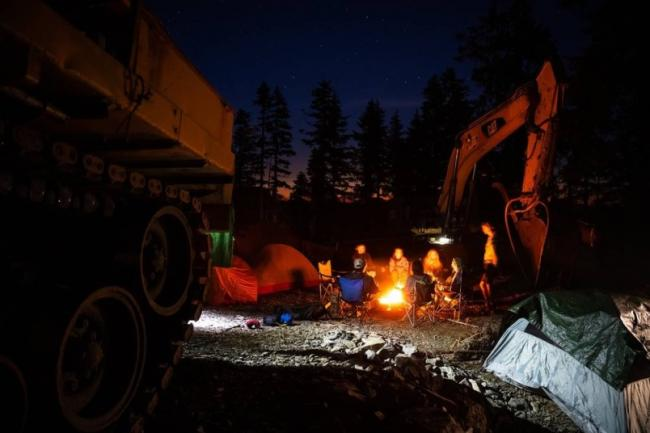 Protesters have been preventing Teal Jones' road building and logging crews from accessing its cut block on Tree Forest License 46 at various access points for nearly seven months. RAINFOREST FLYING SQUAD