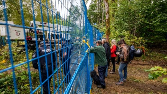 Burnaby RCMP after extracting a tree sitter from a TMX pipeline construction site in Burnaby. (Ben Nelms/CBC)