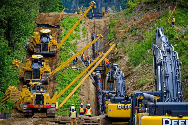The cost of the Trans Mountain expansion project continues to soar, but by how much exactly is still not clear, according to a new report from West Coast Environmental Law. Photo via TMX / Facebook