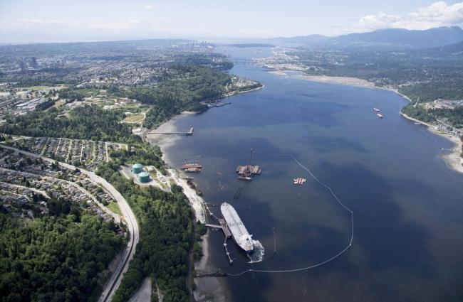 A aerial view of Kinder Morgan's Trans Mountain marine terminal, in Burnaby, B.C. Photo: Jonathan Hayward / The Canadian Press