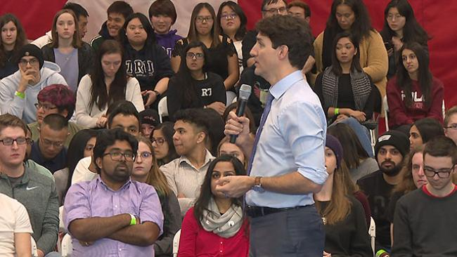 Prime Minister Justin Trudeau was criticized Wednesday in Kamloops for the RCMP's raid of a check point and camp on unceded Wet'suwet'en territory earlier this week.