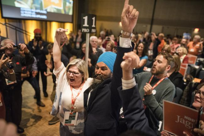 Federal NDP Leader Jagmeet Singh and Ontario NDP Leader Andrea Horwath celebrate during the provincial party's bi-annual convention in Hamilton, Ont. on June 16, 2019. Photo by Tijana Martin