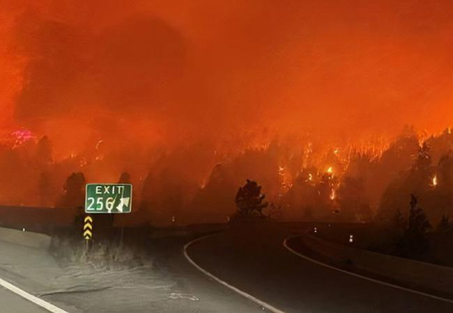 Time to reroute our plans. Fire near the Coquihalla Highway on Aug. 15, 2021. Photo by BC Ministry of Transportation.