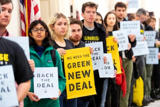 Sunrise, founded a year and a half ago by a dozen or so twentysomethings, has established itself as the dominant influence on the environmental policy of the Democrat's young, progressive wing.Photograph by Michael Brochstein / SOPA / Getty