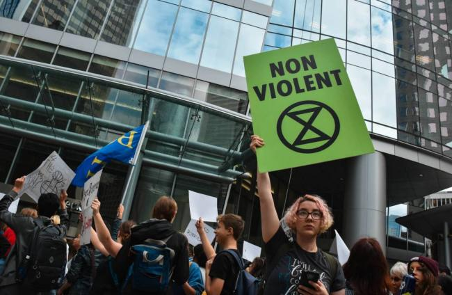 Extinction Rebellion practises peaceful civil disobedience in fighting the climate crisis. RYAN DOUCET