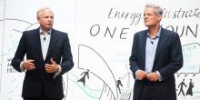 BP CEO Bob Dudley, left, and chief economist Spencer Dale speak during a session at the One Young World Summit in London on Oct. 23, 2019. Photo: Facundo Arrizabalaga/EPA-EFE/Shutterstock