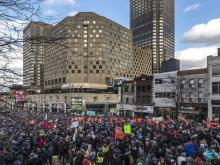 More than 50,000 marched in Montreal on Saturday in one of several climate-change demonstrations organized in Quebec by the Planet Goes to Parliament / Planète s'invite au parlement. DAVE SIDAWAY / MONTREAL GAZETTE