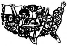 Graphic -US as a map of protestors - Adam Maida