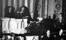 President Franklin D Roosevelt in Congress appealing for a declaration of war against Japan, 8 December 1941 Photograph: AP