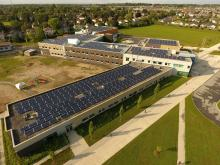 A solar project by iSolara at Maurice-Lapointe school in the Kanata area of Ottawa in August 2017. Photo by Alex Tétreault