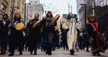 Indigenous leaders march on Jan. 8, 2019, in Vancouver, B.C. Rallies were held across Canada to show solidarity with Wet'suwet'en. Photo by Michael Ruffolo
