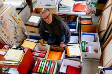 retired lawyer David Gooderham among his files on climate change at home in Vancouver, B.C. on Jan. 25, 2019. Photo by Michael Ruffolo