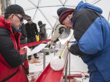 Researchers extracting an ice core from the Guliya Ice Cap in the Tibetan Plateau in 2015. (Lonnie Thompson / Ohio State University)