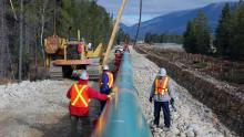"""Trans Mountain Pipeline Construction: Nevertheless, the definition of """"essential service"""" is symbolically important, and inherently political. Photo credit: TMX handout"""
