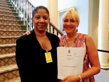 Nova Scotia MP Lenore Zann (right) and Dr. Ingrid Waldron (left) pictured in the Nova Scotia legislature in 2017. Waldron was a driving force behind Zann's environmental racism bill. Zann photo / Facebook