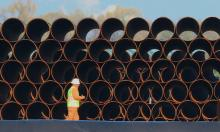 Pipes for the proposed Dakota Access oil pipeline, that would traverse North and South Dakota, Iowa and Illinois. Photograph: Nati Harnik/AP