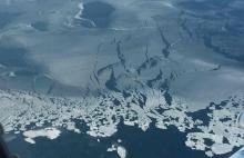 Such thin ice now could see record low summertime sea-ice conditions in the Arctic next September. Photograph: Operation IceBridge/Nasa