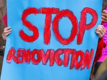Nov. 9, 2018 file photo of a sign at a renoviction demonstration by the Vancouver Tenants Union. In an effort to prevent illegal renovictions in B.C., a proposed law would require landlords to apply to the Residential Tenancy Branch before they can issue an eviction notice relating to renovations. PHOTO BY FRANCIS GEORGIAN /PNG