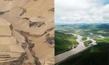 The Loess plateau, in China, in 2007, left, and transformed into green valleys and productive farmland in 2019. Composite: Rex/Shutterstock/Xinhua/Alamy