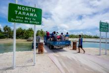 The bridge connecting North and South Tarawa, an atoll in the Pacific nation of Kiribati that is facing the threat of rising sea levels from climate change, pictured in 2017. Asian Development Bank photo