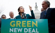Democratic representative from New York Alexandria Ocasio-Cortez and Democratic Senator from Massachusetts Ed Markey introduce their Green New Deal resolution. Photograph: Shawn Thew/EPA