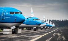 Grounded passenger planes at Groningen airport in Eelde, the Netherlands. Photograph: Siese Veenstra/EPA