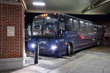 A Greyhound bus along the Toronto to New York route. Photo via Can Pac Swire.