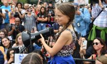 Greta Thunberg speaks at a climate protest outside the White House in Washington DC, on 13 September. Photograph: Nicholas Kamm/AFP/Getty Images