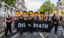 Extinction Rebellion protesters, London, 8 September 2020. Photograph: Guy Bell/REX/Shutterstock