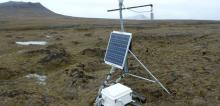 REUTERS Solar-powered scientific equipment records data in a landscape of partially thawed Arctic permafrost near Isachsen, Canada, in this handout photo released June 18, 2019.