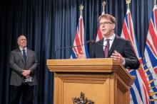 DON CRAIG/GOVERNMENT OF BRITISH COLUMBIA Premier John Horgan and Adrian Dix, Minister of Health, make an announcement about B.C.'s fall pandemic preparedness plan on Sept. 9, 2020.