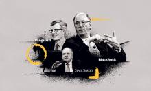 The CEOs of BlackRock, Vanguard and State Street, which together oversee assets worth more than China's entire GDP. Illustration: Guardian Design