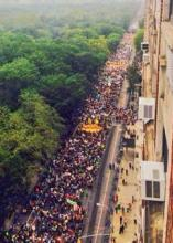 Aerial shot of climate march NY