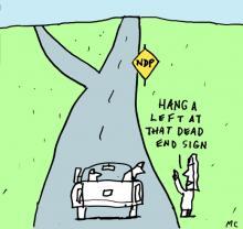 NDP dead end cartoon