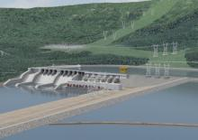 An artist's rendering shows BC Hydro's proposed Site C dam.