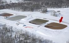 Frackwater pits in Talisman's Farell Creek operations