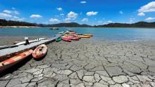 Boats on dry beach - REUTERS