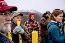 "People against the Site C hydroelectric dam gathered on the property of Ken and Arlene Boon, farmers whose third-generation property is being expropriated for a Site C-related highway realignment that goes right through their house. ""We feel railroaded,"" Ms. Boon, 54, said. Credit Andrew Testa for The New York Times"
