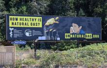 A highway billboard erected next to BC Ferries' Tsawwassen terminal prompts passersby to question the use of natural gas in ferries and elsewhere in the province.Mark Booth/Delta Optimist