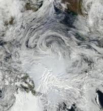 A dark and mostly ice-free Arctic Ocean beneath a   tempestuous swirl of clouds on September 1, 2012,   a time when sea ice coverage had declined to an   area roughly equal to the land mass of Greenland.   Image source: Lance-Modis/NASA AQUA.