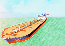 Illustration: Oil exports to Asia. Image via Carol Linnitt.