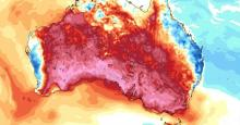 A map shows the high temperatures in Australia on Dec. 18, 2019. (Image: Tropical Tidbits)